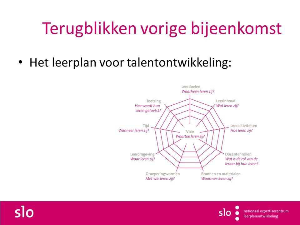 Terugblikken vorige bijeenkomst Het leerplan voor talentontwikkeling: