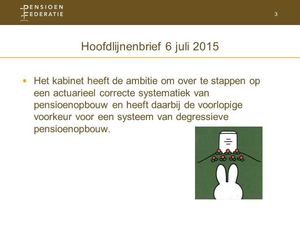 3 Hoofdlijnenbrief 6 juli 2015  Het kabinet heeft de ambitie om over te stappen op een actuarieel correcte systematiek van pensioenopbouw en heeft daarbij de voorlopige voorkeur voor een systeem van degressieve pensioenopbouw.