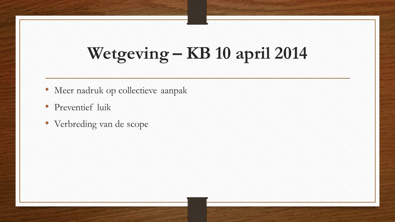 Wetgeving – KB 10 april 2014 Meer nadruk op collectieve aanpak Preventief luik Verbreding van de scope