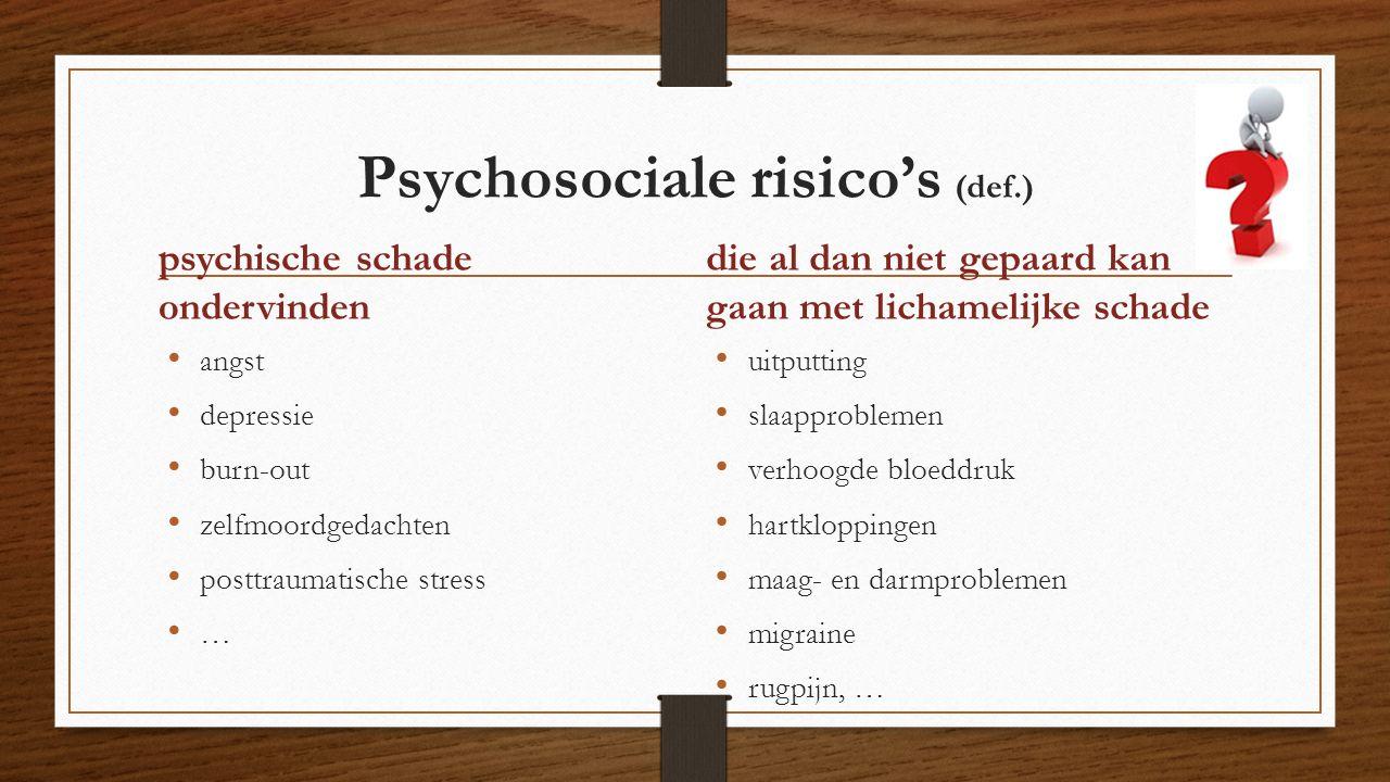 Psychosociale risico's (def.) angst depressie burn-out zelfmoordgedachten posttraumatische stress … die al dan niet gepaard kan gaan met lichamelijke