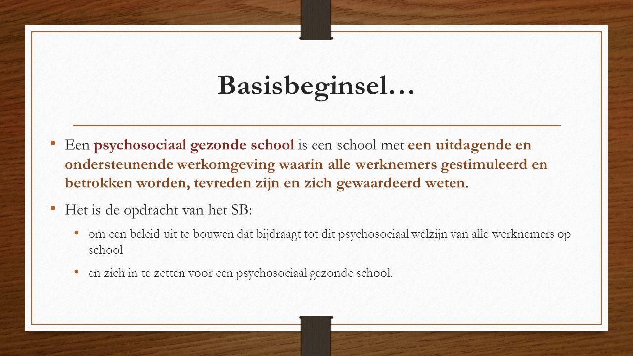 Basisbeginsel… Een psychosociaal gezonde school is een school met een uitdagende en ondersteunende werkomgeving waarin alle werknemers gestimuleerd en betrokken worden, tevreden zijn en zich gewaardeerd weten.