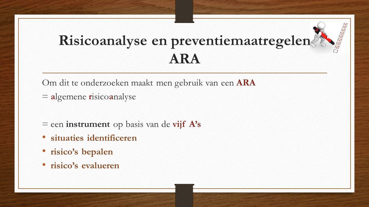 Risicoanalyse en preventiemaatregelen ARA Om dit te onderzoeken maakt men gebruik van een ARA = algemene risicoanalyse = een instrument op basis van de vijf A's situaties identificeren risico's bepalen risico's evalueren
