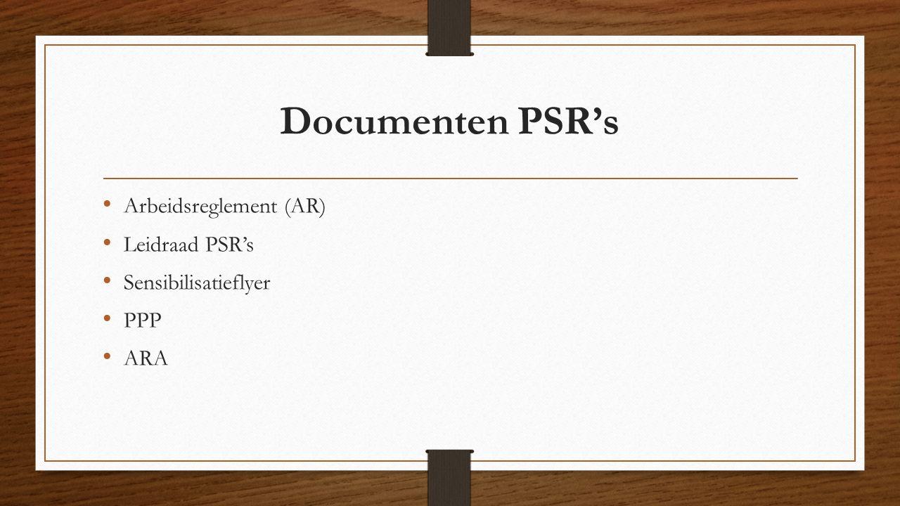 Documenten PSR's Arbeidsreglement (AR) Leidraad PSR's Sensibilisatieflyer PPP ARA
