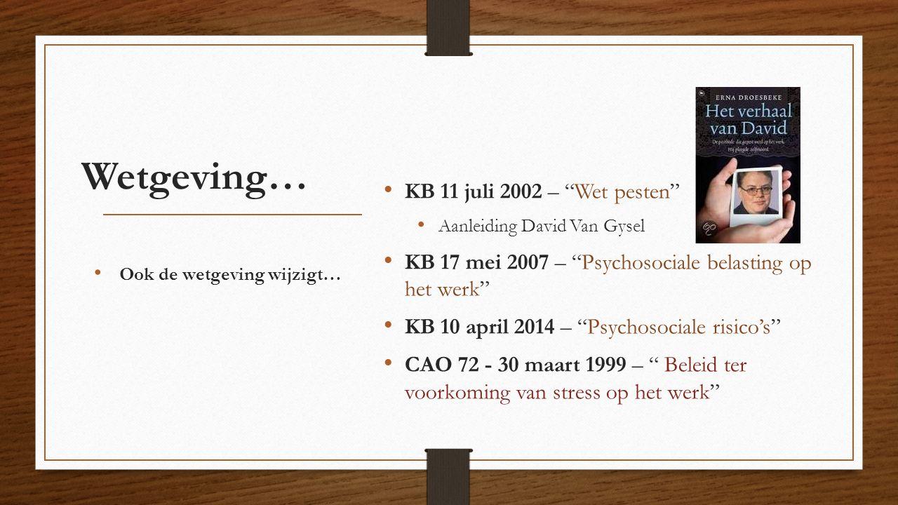 """Wetgeving… KB 11 juli 2002 – """"Wet pesten"""" Aanleiding David Van Gysel KB 17 mei 2007 – """"Psychosociale belasting op het werk"""" KB 10 april 2014 – """"Psycho"""
