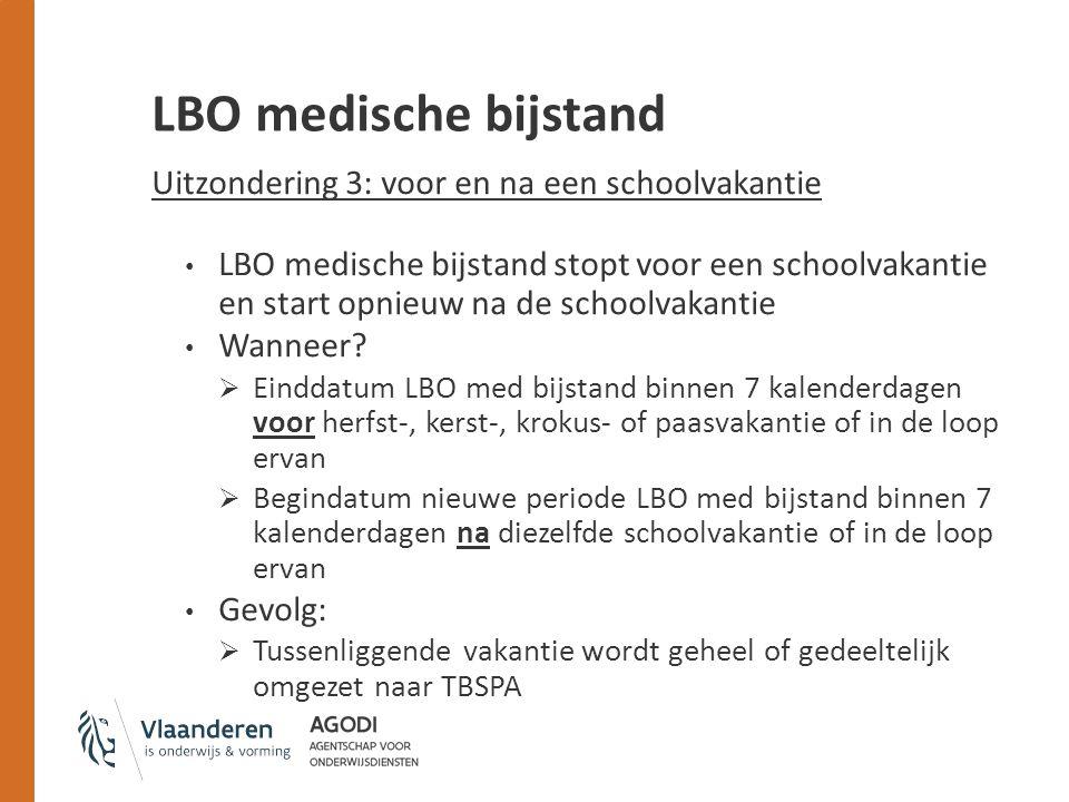 LBO medische bijstand Uitzondering 3: voor en na een schoolvakantie LBO medische bijstand stopt voor een schoolvakantie en start opnieuw na de schoolvakantie Wanneer.