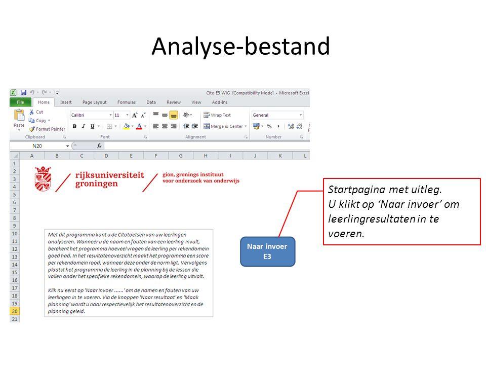 Analyse-bestand Startpagina met uitleg. U klikt op 'Naar invoer' om leerlingresultaten in te voeren.