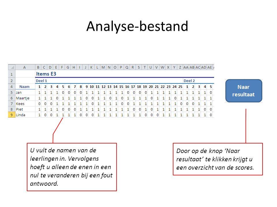 Analyse-bestand U vult de namen van de leerlingen in. Vervolgens hoeft u alleen de enen in een nul te veranderen bij een fout antwoord. Door op de kno