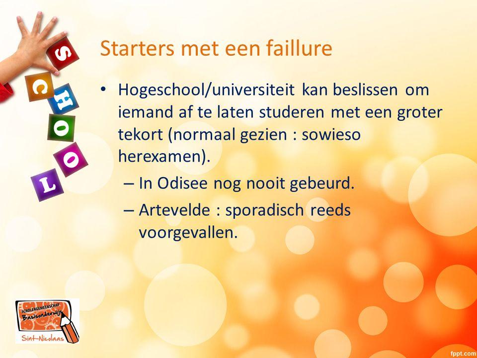 Starters met een faillure Hogeschool/universiteit kan beslissen om iemand af te laten studeren met een groter tekort (normaal gezien : sowieso herexamen).