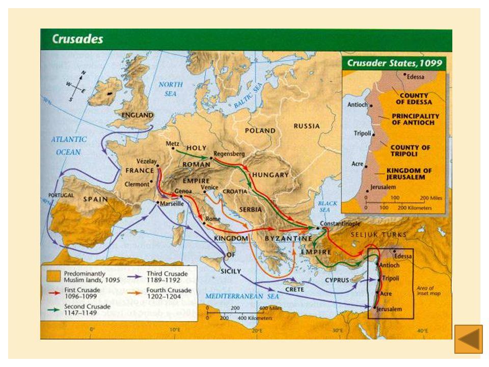 GEVOLGEN VAN DE KRUISTOCHTEN  Er ontstaan een aantal kruisvaardersstaten maar die gaan uiteindelijk weer verloren  Reconquista is wel succesvol  Er ontstaan handelsrelaties tussen west Europa en het Midden Oosten  Er ontstaan culturele contacten tussen west Europa en het Midden Oosten