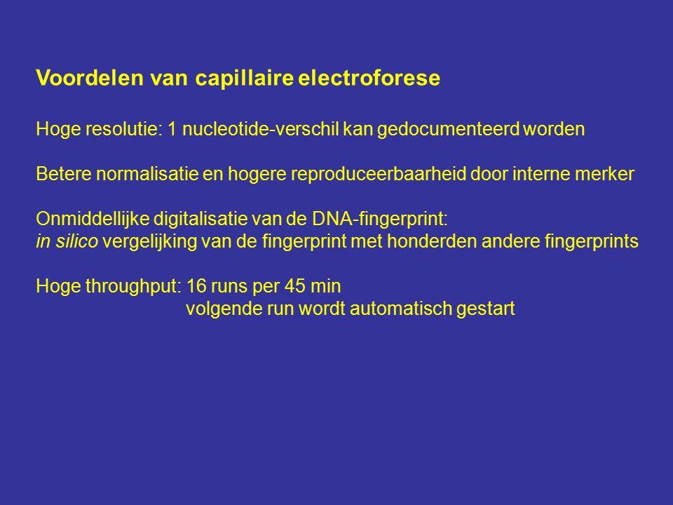 Voordelen van capillaire electroforese Hoge resolutie: 1 nucleotide-verschil kan gedocumenteerd worden Betere normalisatie en hogere reproduceerbaarheid door interne merker Onmiddellijke digitalisatie van de DNA-fingerprint: in silico vergelijking van de fingerprint met honderden andere fingerprints Hoge throughput: 16 runs per 45 min volgende run wordt automatisch gestart