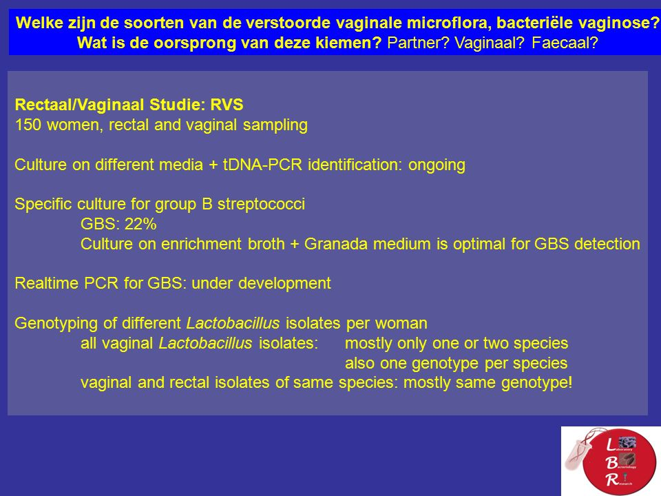 Rectaal/Vaginaal Studie: RVS 150 women, rectal and vaginal sampling Culture on different media + tDNA-PCR identification: ongoing Specific culture for group B streptococci GBS: 22% Culture on enrichment broth + Granada medium is optimal for GBS detection Realtime PCR for GBS: under development Genotyping of different Lactobacillus isolates per woman all vaginal Lactobacillus isolates: mostly only one or two species also one genotype per species vaginal and rectal isolates of same species: mostly same genotype.