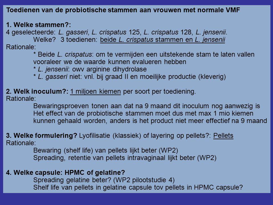 Toedienen van de probiotische stammen aan vrouwen met normale VMF 1.