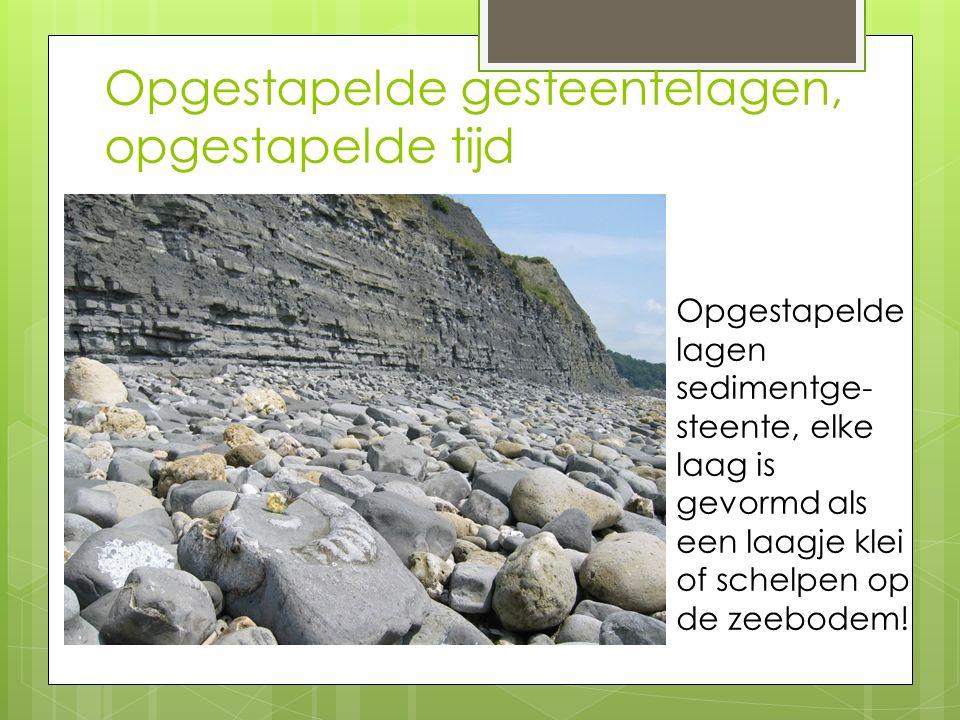 Opgestapelde gesteentelagen, opgestapelde tijd Opgestapelde lagen sedimentge- steente, elke laag is gevormd als een laagje klei of schelpen op de zeeb