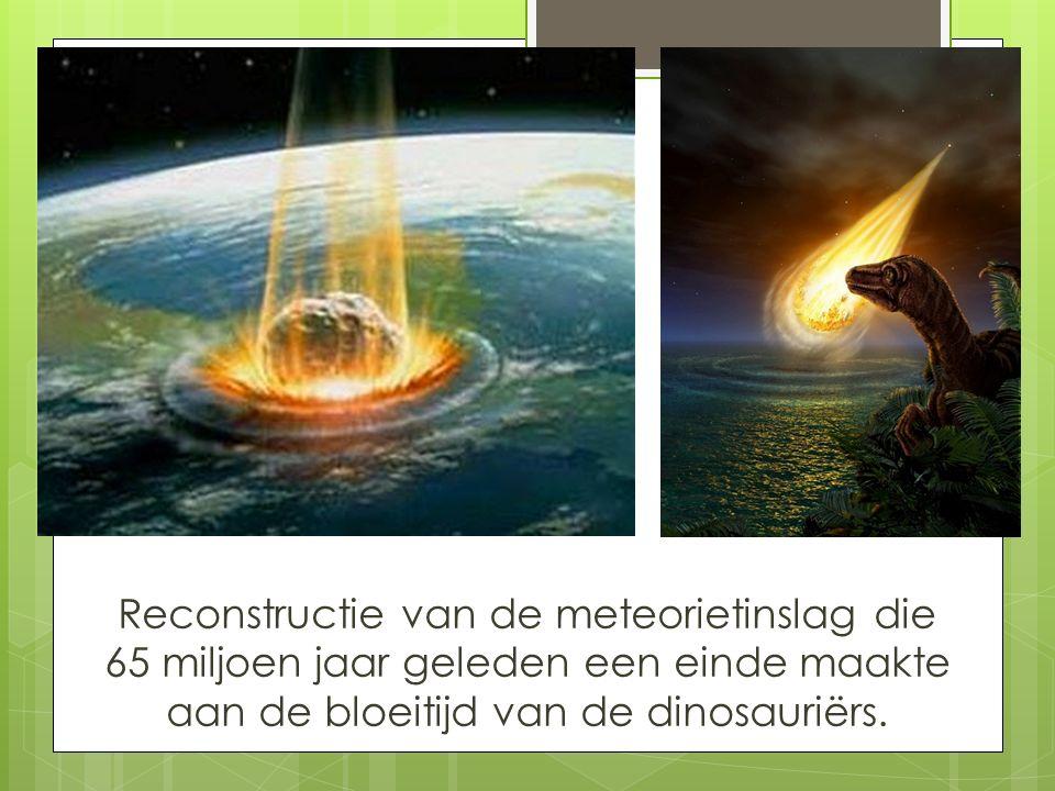 Reconstructie van de meteorietinslag die 65 miljoen jaar geleden een einde maakte aan de bloeitijd van de dinosauriërs.