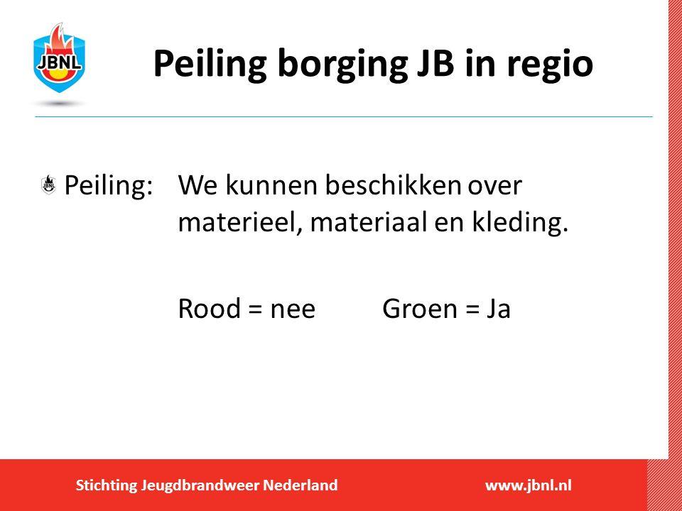 Stichting Jeugdbrandweer Nederlandwww.jbnl.nl Peiling borging JB in regio Peiling:We kunnen beschikken over materieel, materiaal en kleding. Rood = ne