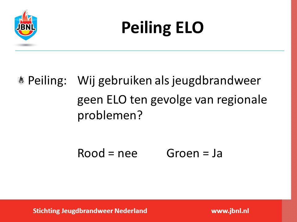 Stichting Jeugdbrandweer Nederlandwww.jbnl.nl Peiling ELO Peiling:Wij gebruiken als jeugdbrandweer geen ELO ten gevolge van regionale problemen? Rood