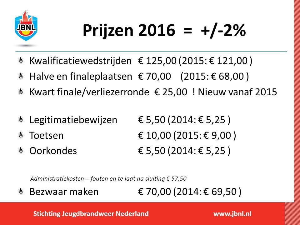 Stichting Jeugdbrandweer Nederlandwww.jbnl.nl Prijzen 2016 = +/-2% Kwalificatiewedstrijden € 125,00 (2015: € 121,00 ) Halve en finaleplaatsen € 70,00 (2015: € 68,00 ) Kwart finale/verliezerronde € 25,00 .