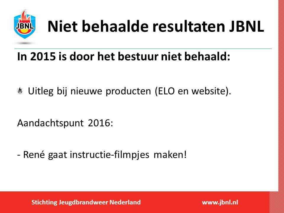 Stichting Jeugdbrandweer Nederlandwww.jbnl.nl Niet behaalde resultaten JBNL In 2015 is door het bestuur niet behaald: Uitleg bij nieuwe producten (ELO en website).