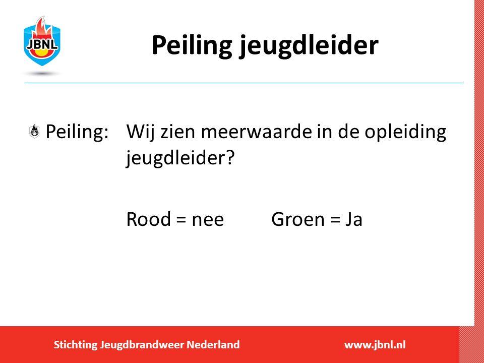Stichting Jeugdbrandweer Nederlandwww.jbnl.nl Peiling jeugdleider Peiling:Wij zien meerwaarde in de opleiding jeugdleider? Rood = neeGroen = Ja