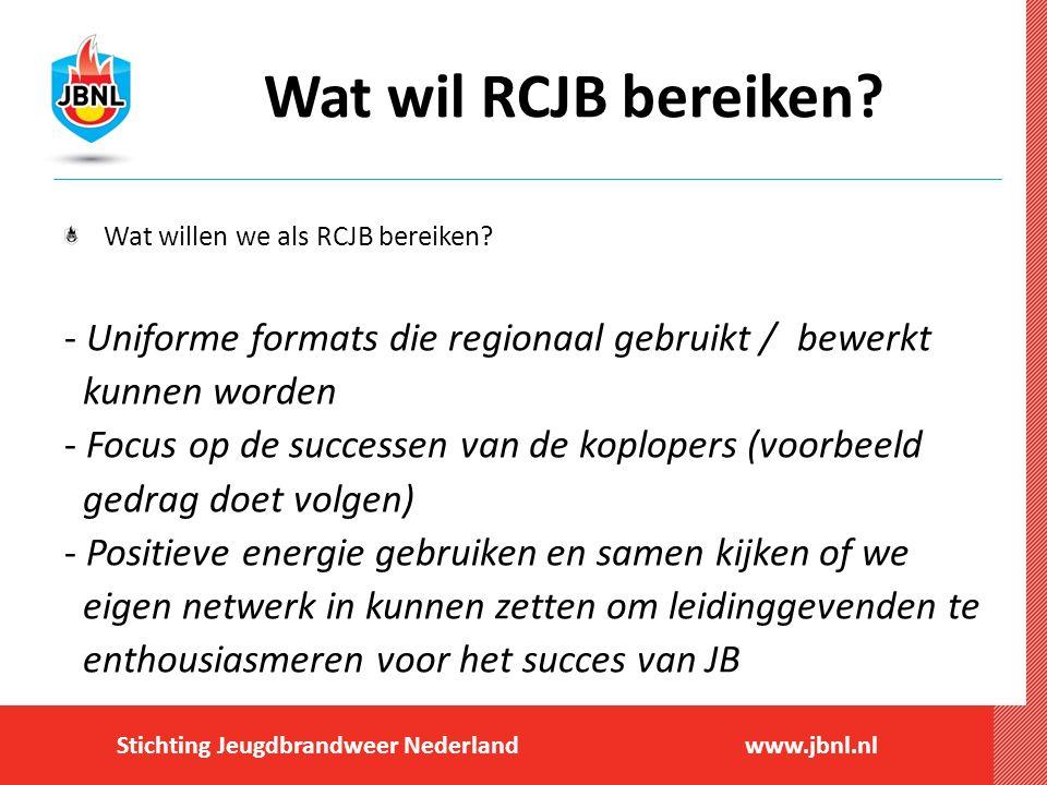 Stichting Jeugdbrandweer Nederlandwww.jbnl.nl Wat wil RCJB bereiken? Wat willen we als RCJB bereiken? - Uniforme formats die regionaal gebruikt / bewe