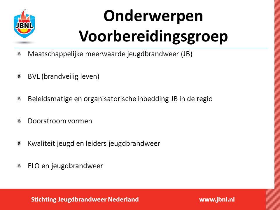 Stichting Jeugdbrandweer Nederlandwww.jbnl.nl Onderwerpen Voorbereidingsgroep Maatschappelijke meerwaarde jeugdbrandweer (JB) BVL (brandveilig leven)