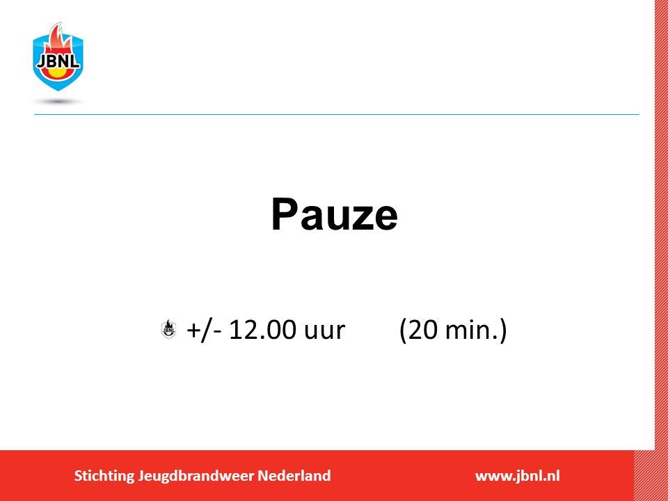 Stichting Jeugdbrandweer Nederlandwww.jbnl.nl Pauze +/- 12.00 uur (20 min.)