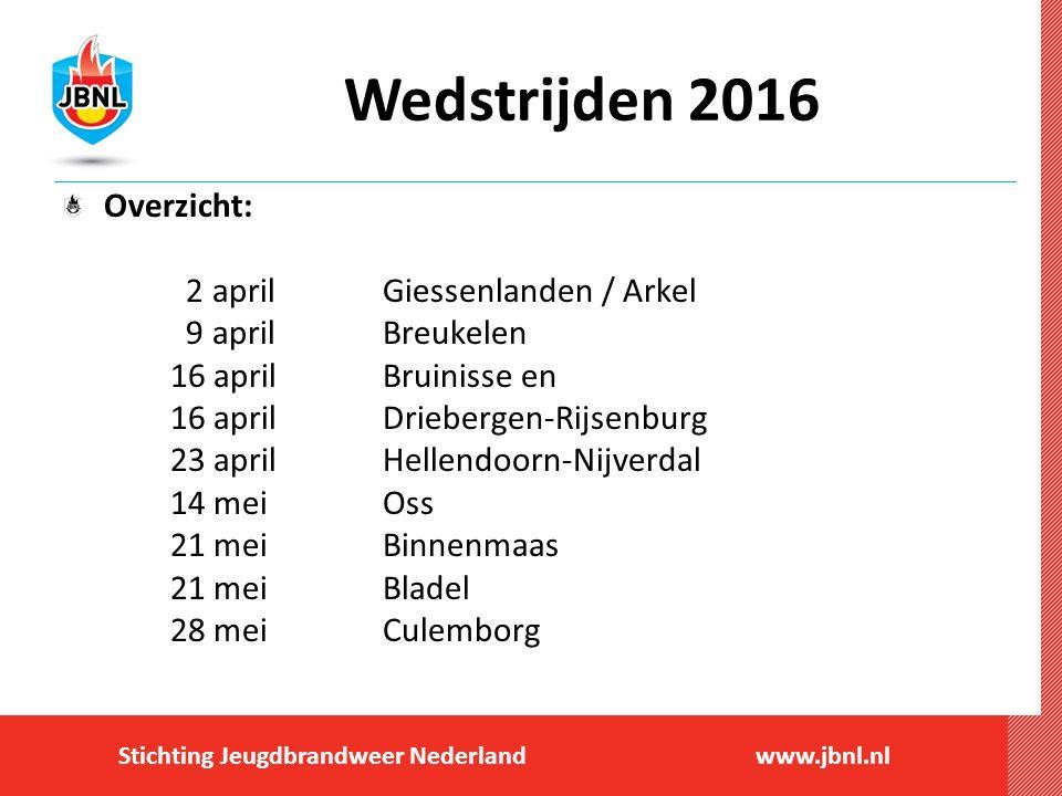 Stichting Jeugdbrandweer Nederlandwww.jbnl.nl Wedstrijden 2016 Overzicht: 2 april Giessenlanden / Arkel 9 april Breukelen 16 april Bruinisse en 16 apr