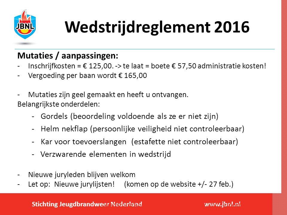 Stichting Jeugdbrandweer Nederlandwww.jbnl.nl Wedstrijdreglement 2016 Mutaties / aanpassingen: -Inschrijfkosten = € 125,00.