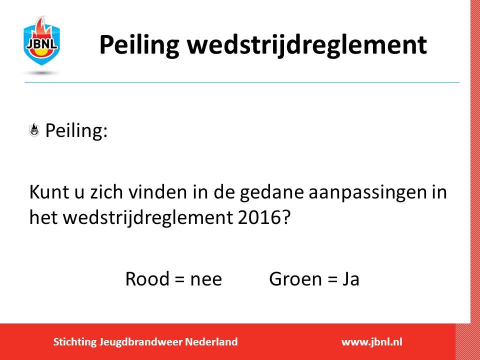 Stichting Jeugdbrandweer Nederlandwww.jbnl.nl Peiling wedstrijdreglement Peiling: Kunt u zich vinden in de gedane aanpassingen in het wedstrijdreglement 2016.