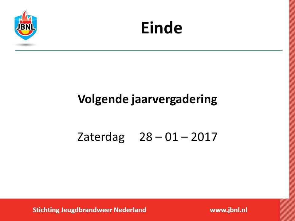 Stichting Jeugdbrandweer Nederlandwww.jbnl.nl Einde Volgende jaarvergadering Zaterdag 28 – 01 – 2017
