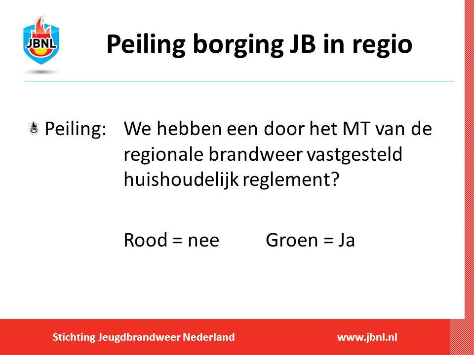 Stichting Jeugdbrandweer Nederlandwww.jbnl.nl Peiling borging JB in regio Peiling:We hebben een door het MT van de regionale brandweer vastgesteld huishoudelijk reglement.