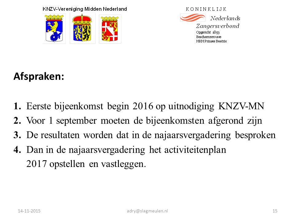 Afspraken: 1. Eerste bijeenkomst begin 2016 op uitnodiging KNZV-MN 2.