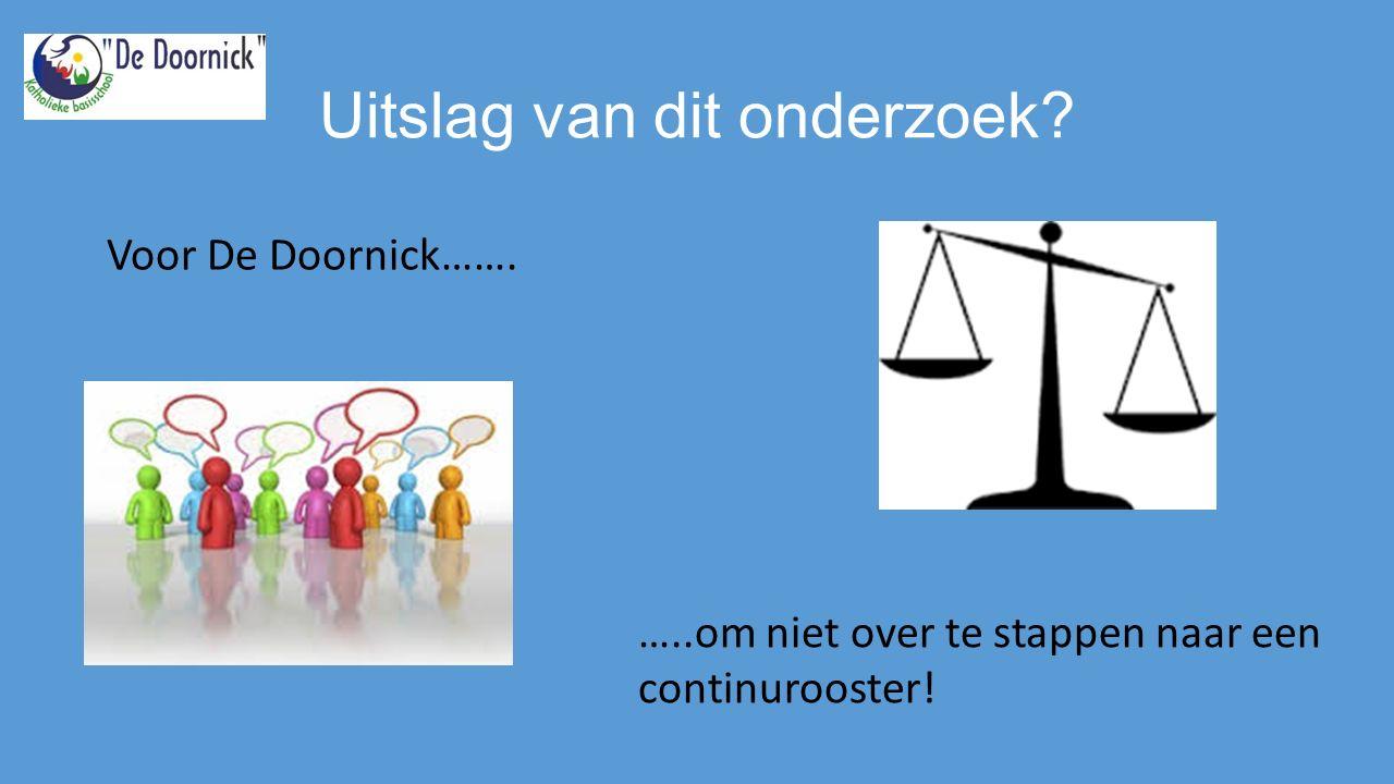 Uitslag van dit onderzoek …..om niet over te stappen naar een continurooster! Voor De Doornick…….