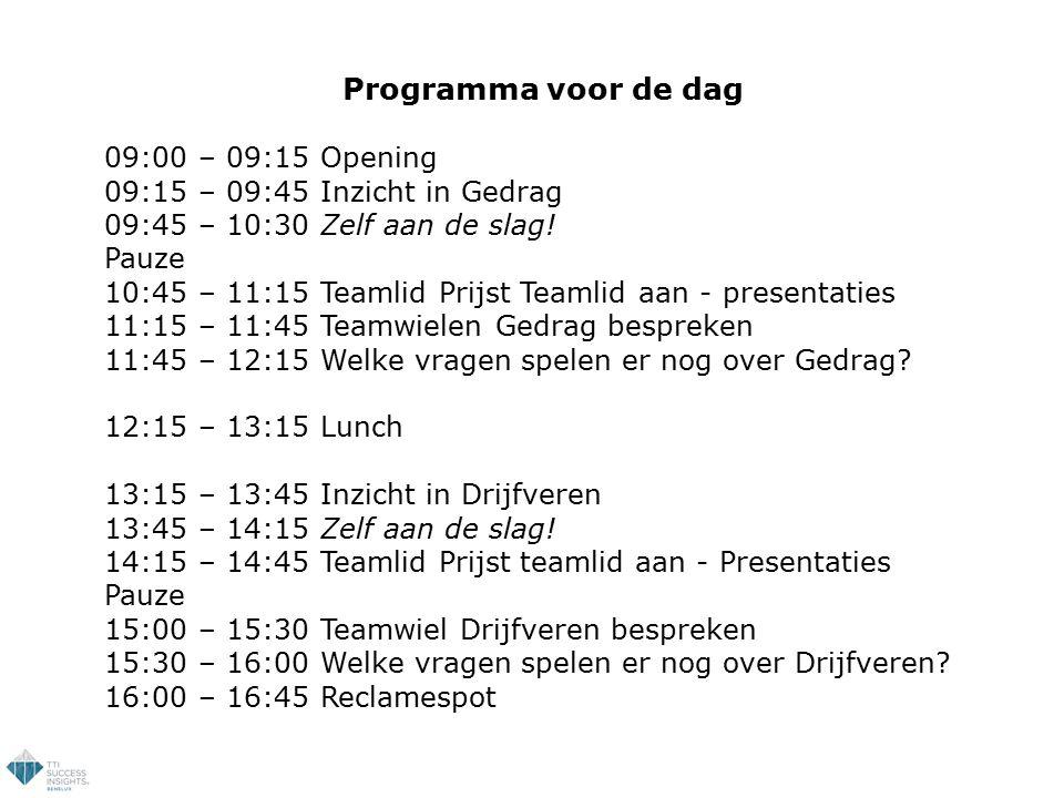 Programma voor de dag 09:00 – 09:15 Opening 09:15 – 09:45 Inzicht in Gedrag 09:45 – 10:30 Zelf aan de slag! Pauze 10:45 – 11:15 Teamlid Prijst Teamlid