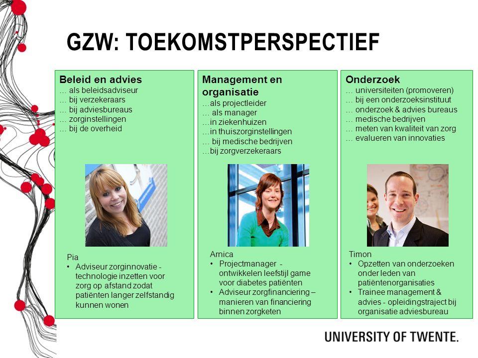 GZW: TOEKOMSTPERSPECTIEF Beleid en advies … als beleidsadviseur … bij verzekeraars … bij adviesbureaus … zorginstellingen … bij de overheid Management