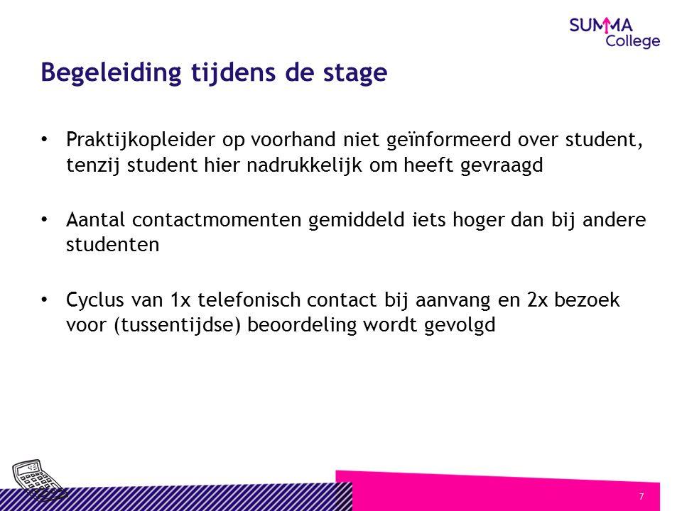 7 Begeleiding tijdens de stage Praktijkopleider op voorhand niet geïnformeerd over student, tenzij student hier nadrukkelijk om heeft gevraagd Aantal
