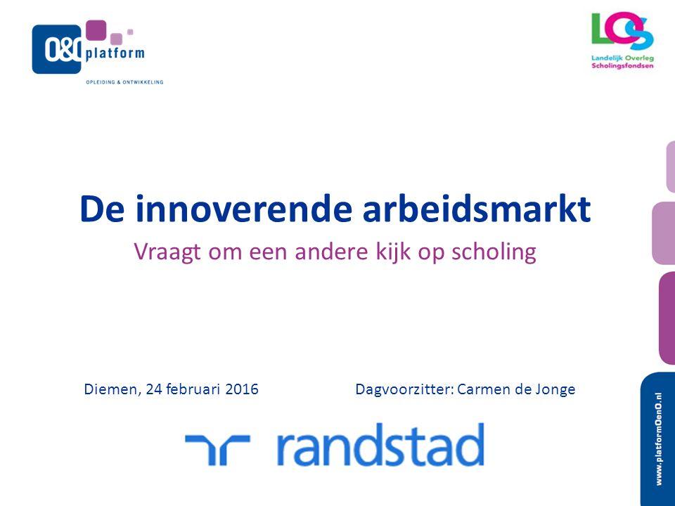 De innoverende arbeidsmarkt Vraagt om een andere kijk op scholing Diemen, 24 februari 2016Dagvoorzitter: Carmen de Jonge