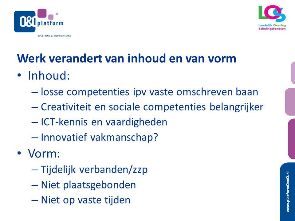 Vraagt van het individu Creativiteit Sociale competenties Up to date vakmanschap Blijven ontwikkelen Aanpassingsvermogen