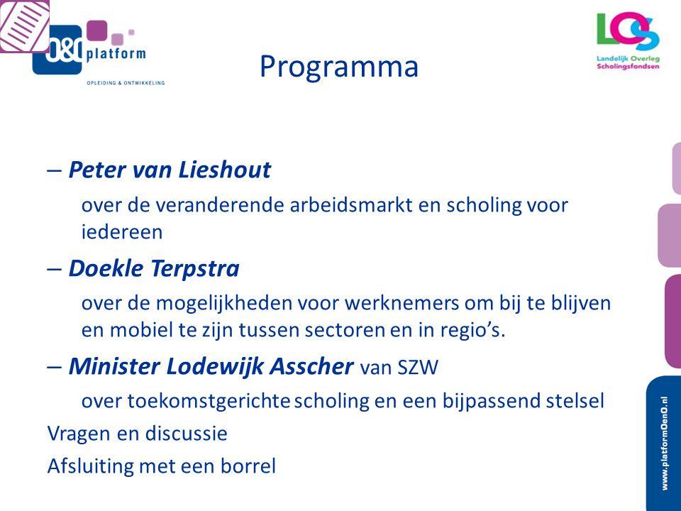 Programma – Peter van Lieshout over de veranderende arbeidsmarkt en scholing voor iedereen – Doekle Terpstra over de mogelijkheden voor werknemers om bij te blijven en mobiel te zijn tussen sectoren en in regio's.