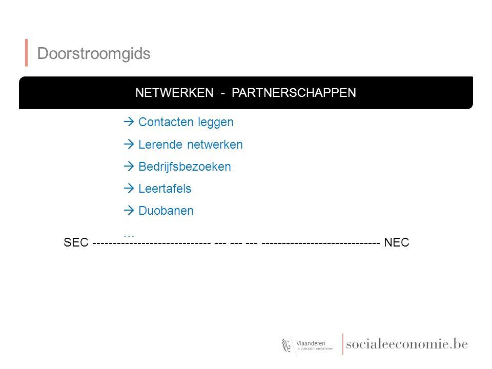 Doorstroomgids NETWERKEN - PARTNERSCHAPPEN SEC ----------------------------- --- --- --- ----------------------------- NEC  Contacten leggen  Lerende netwerken  Bedrijfsbezoeken  Leertafels  Duobanen …