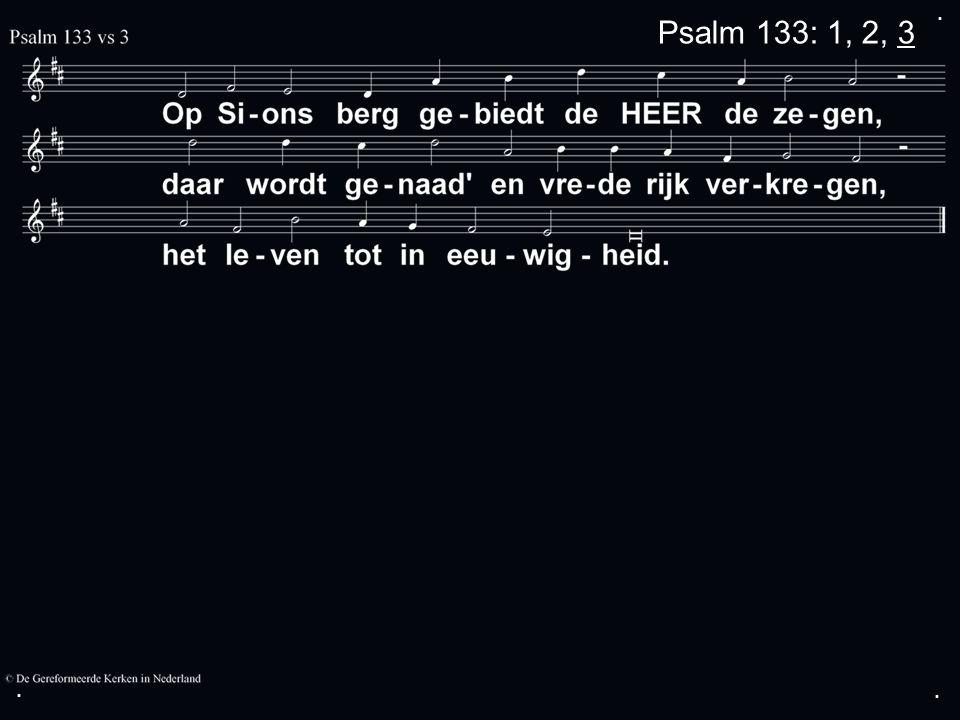 .... Zingen:Psalm 133 Dankgebed Collecte Zingen:LvdK 255 Zegen