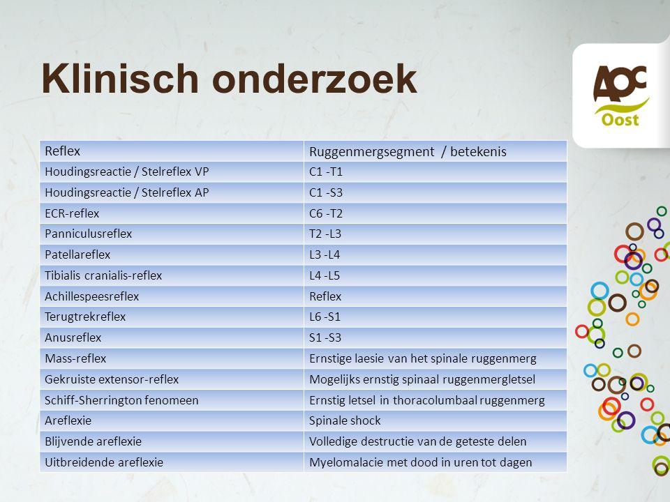 Klinisch onderzoek Reflex Ruggenmergsegment / betekenis Houdingsreactie / Stelreflex VPC1 -T1 Houdingsreactie / Stelreflex APC1 -S3 ECR-reflexC6 -T2 P