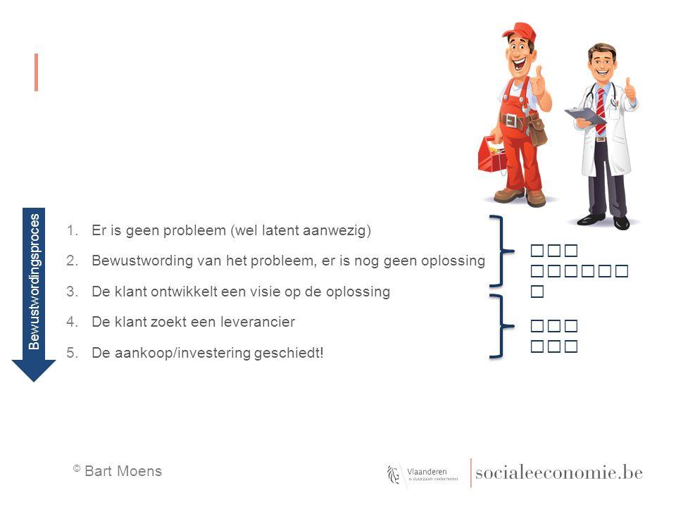 1.Er is geen probleem (wel latent aanwezig) 2.Bewustwording van het probleem, er is nog geen oplossing 3.De klant ontwikkelt een visie op de oplossing 4.De klant zoekt een leverancier 5.De aankoop/investering geschiedt.