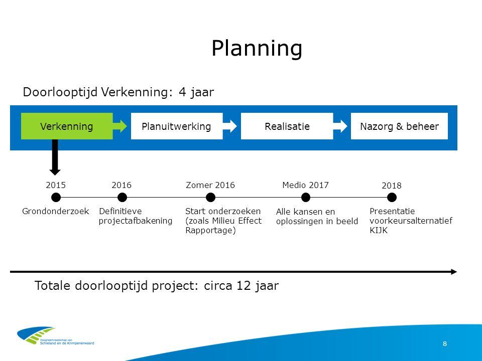 Planning 8 Totale doorlooptijd project: circa 12 jaar VerkenningPlanuitwerkingRealisatieNazorg & beheer GrondonderzoekDefinitieve projectafbakening St