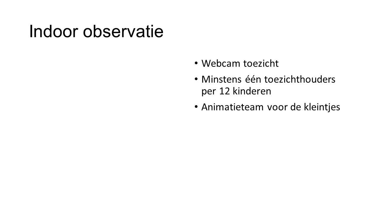 Indoor observatie Webcam toezicht Minstens één toezichthouders per 12 kinderen Animatieteam voor de kleintjes