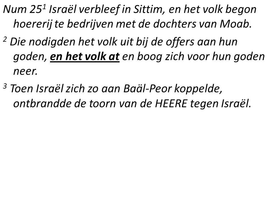 Num 25 1 Israël verbleef in Sittim, en het volk begon hoererij te bedrijven met de dochters van Moab.