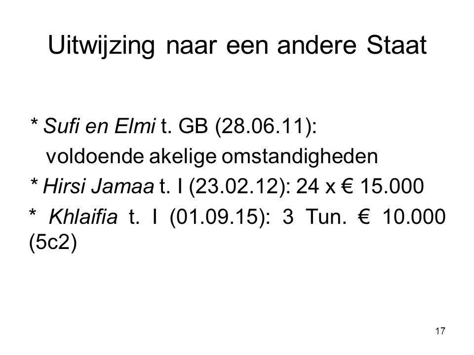 Uitwijzing naar een andere Staat * Sufi en Elmi t. GB (28.06.11): voldoende akelige omstandigheden * Hirsi Jamaa t. I (23.02.12): 24 x € 15.000 * Khla