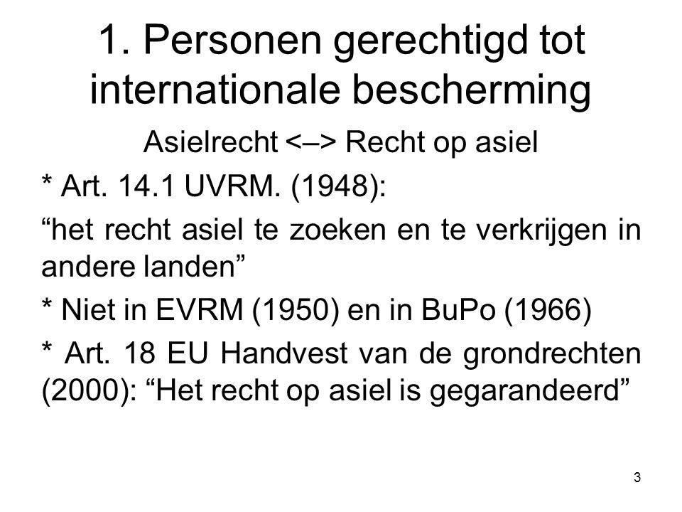 """3 1. Personen gerechtigd tot internationale bescherming Asielrecht Recht op asiel * Art. 14.1 UVRM. (1948): """"het recht asiel te zoeken en te verkrijge"""