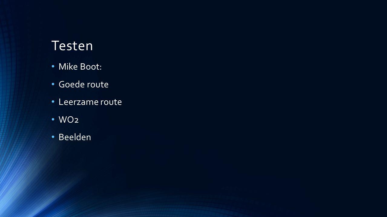 Testen Mike Boot: Goede route Leerzame route WO2 Beelden