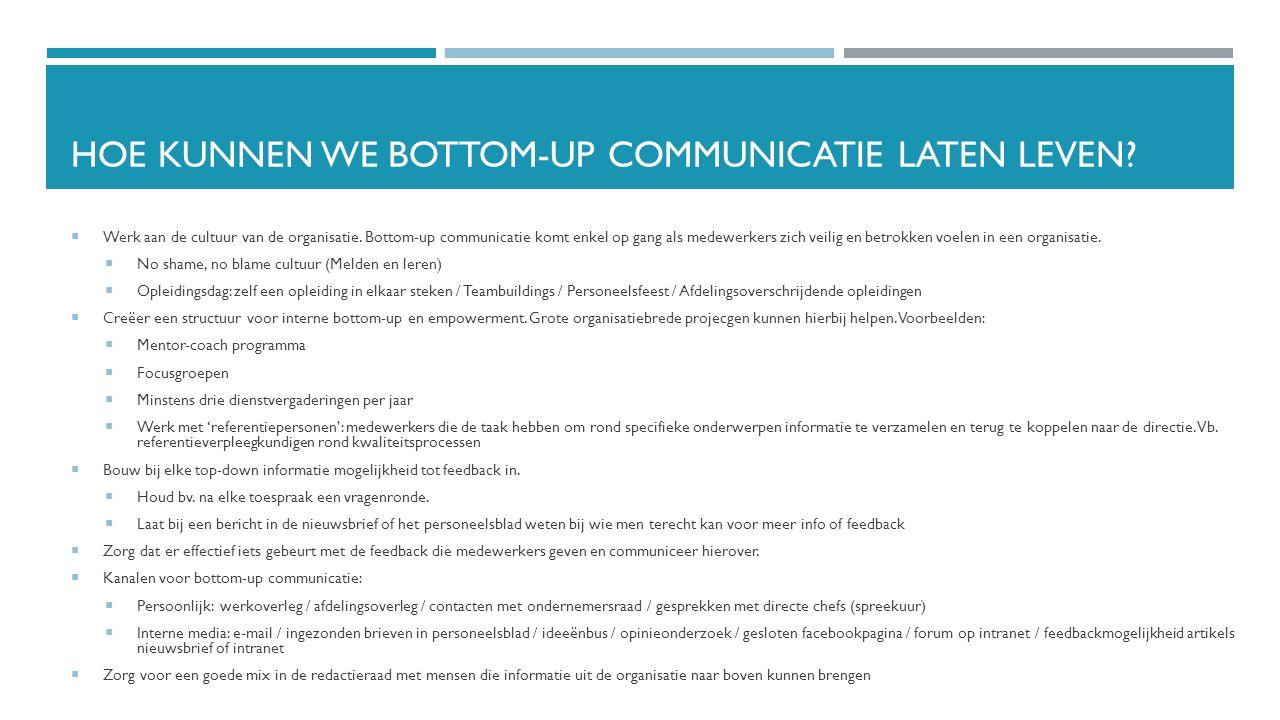 HOE KUNNEN WE BOTTOM-UP COMMUNICATIE LATEN LEVEN?  Werk aan de cultuur van de organisatie. Bottom-up communicatie komt enkel op gang als medewerkers